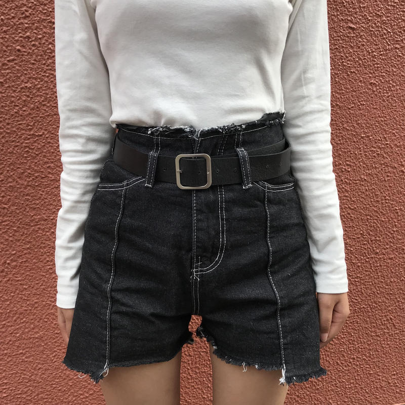 Stitch short denim pants