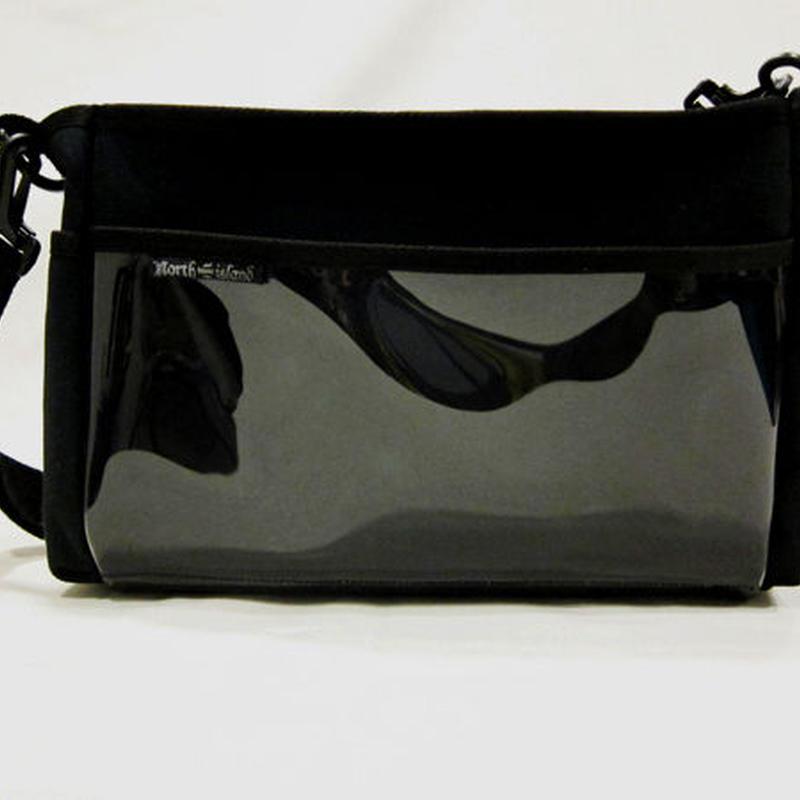 メイクBAG 帆布×ビニール(S)/紺 ★画像は黒です。紺色はMサイズの写真を参照。