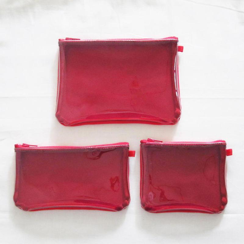 ポーチ(S/M/L)3点セット / 赤  帆布×ビニール ★紺・カーキをご希望の場合はメールにてご連絡ください。