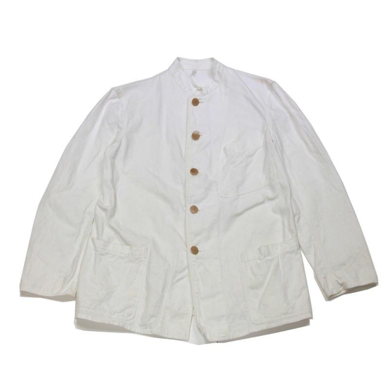 1930's~ Unknow WHITE CANVAS COVERALL スタンドカラー キャンバス カバーオール チェンジボタン