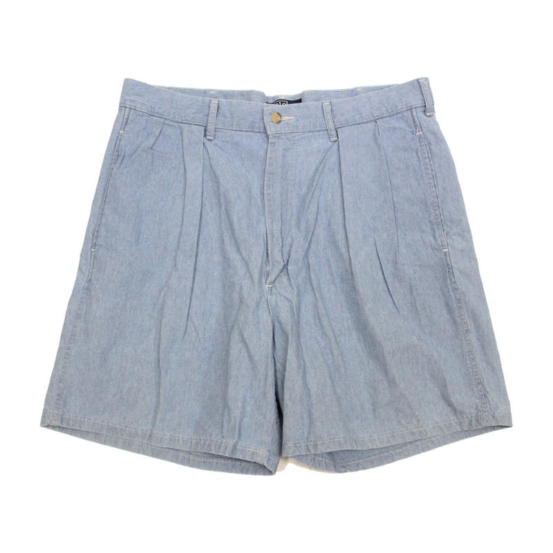80's~ POLO RALPH LAUREN PLEATED CHAMBRAY SHORTS MADE IN USA (34) ポロ ラルフローレン 2タック シャンブレーショーツ アメリカ製