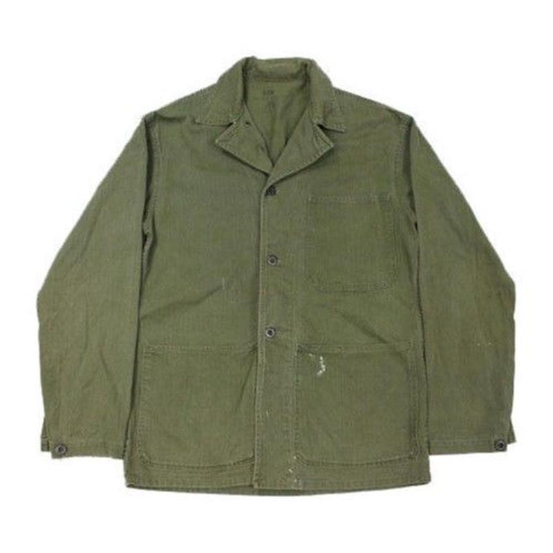 40's U.S.NAVY HBT Jacket (about 38) USネイビー ヘリンボーンツイル ユーティリティジャケット USN