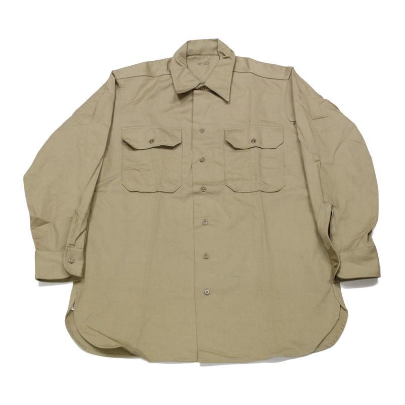 NOS 40's Shirts, Cotton, Khaki (16×33) デッドストック チノシャツ