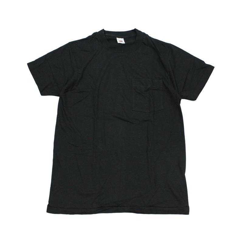 NOS 80's FRUIT OF THE ROOM COTTON T-Shirts with Pocket BLACK(M) デッドストック フルーツ オブ ザ ルーム ポケットTシャツ ポケT 黒