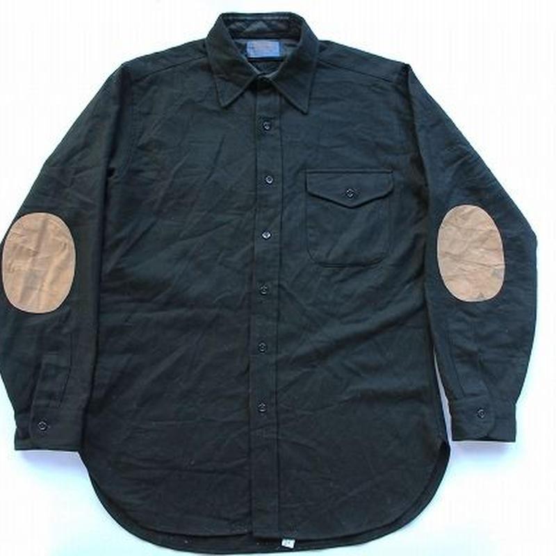 70's PENDLETON L/S WOOL SHIRTS BLACK ペンドルトン ウールシャツ (M) 黒