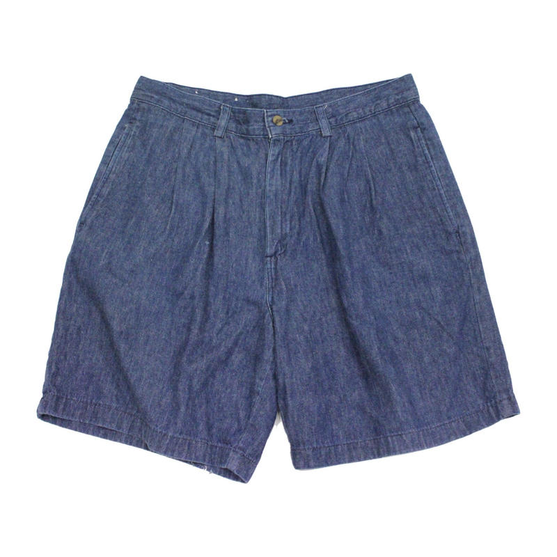 80's~ Unknow PLEATED DENIM SHORTS MADE IN USA (32) 2タック デニムショーツ