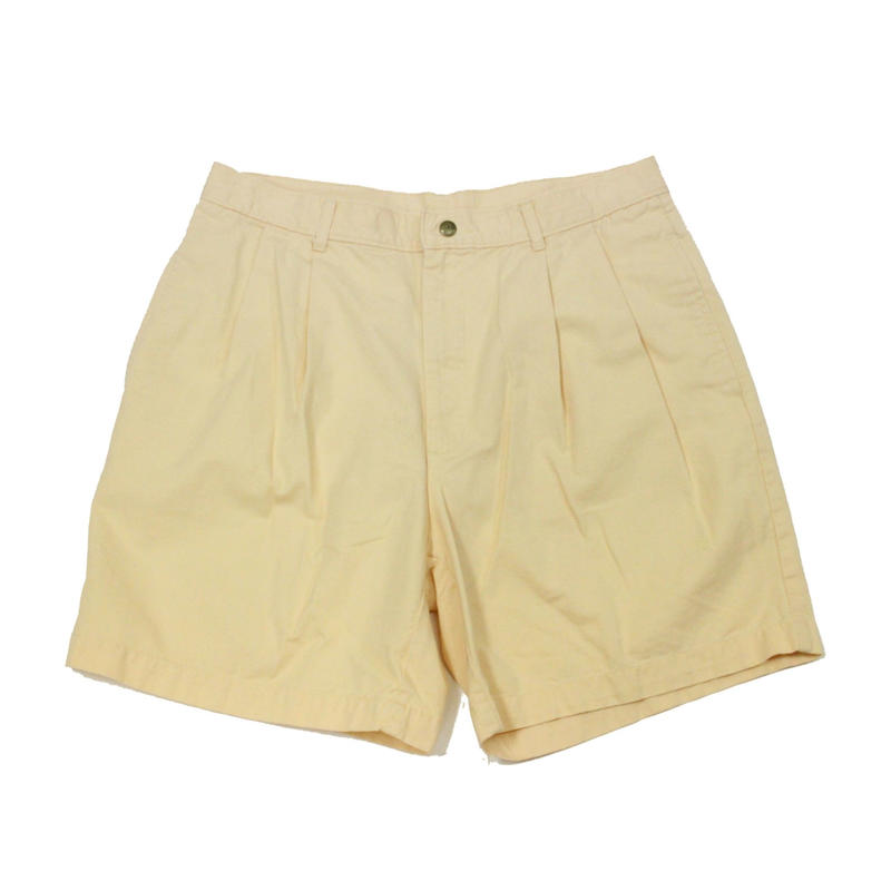 90's L.L.Bean New Washed Twill Walking Shorts Pleated Front (34) LLビーン コットン チノショーツ 黄色系