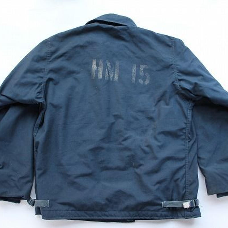 1990 USN JACKET,COLD,WEATHER,FLAMERESISTANT,CLASS 1 US Navyアラミドデッキジャケット (L) ステンシル