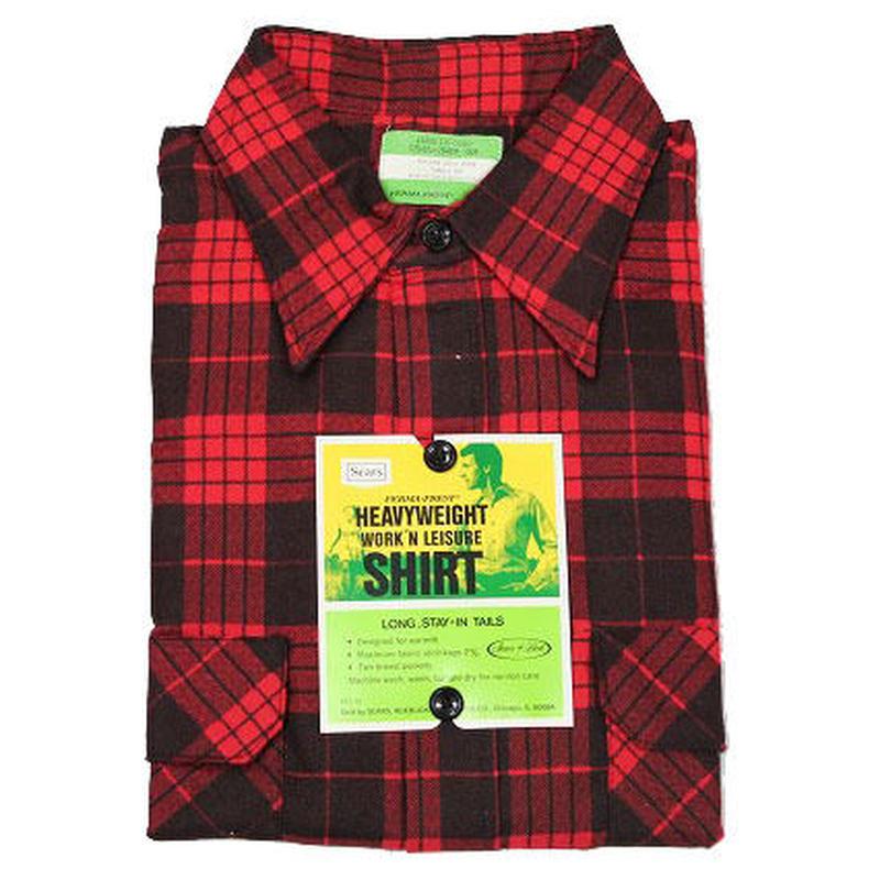 NOS 〜70's Sears PLAID FLANNEL WORK SHIRTS (L) デッドストック シアーズ チェック フランネルシャツ ワークシャツ 赤×黒