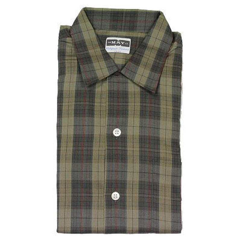NOS 60's THE MAY CO  PLAID COTTON SHIRTS (M) デッドストック ループカラー  チェック コットンシャツ