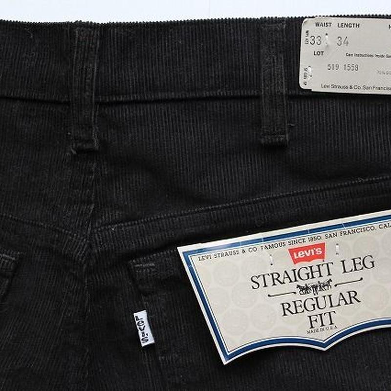 NOS 80's Levi's 519 1558 BLACK デッドストック コーデュロイパンツ ブラック 黒 (33×34) DEAD