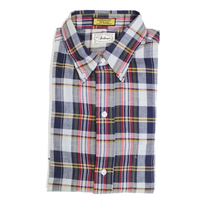 NOS 60's MATT Andrews INDIA MADRAS B.D.Shirts (M) デッドストック 3点留め ボタンダウン マドラスチェック ボタンダウンシャツ