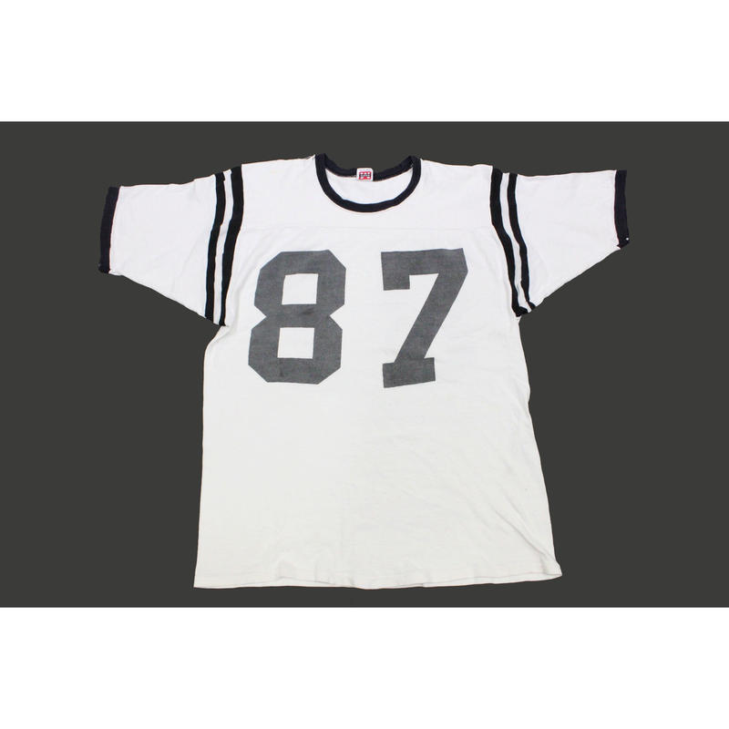 60's MASON Number Printed Football T-Shirts (L) メイソン 染込みプリント コットン ナンバリング Tシャツ 白 黒