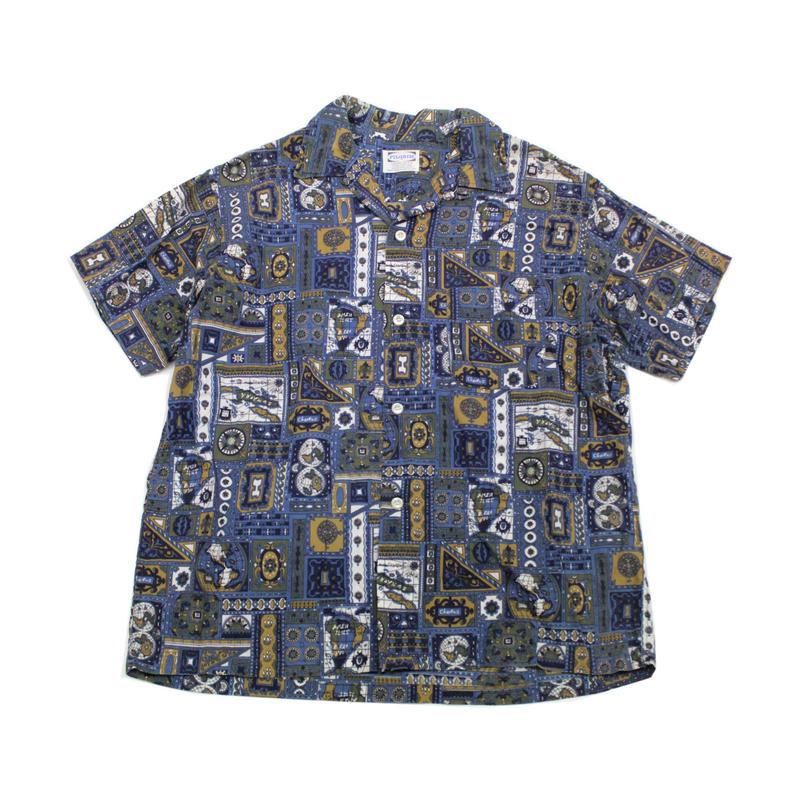 60's PILGRIM All Over Print Loop Collar S/S SHIRT (L) ピルグリム 総柄プリント ショートスリーブシャツ オープンカラー