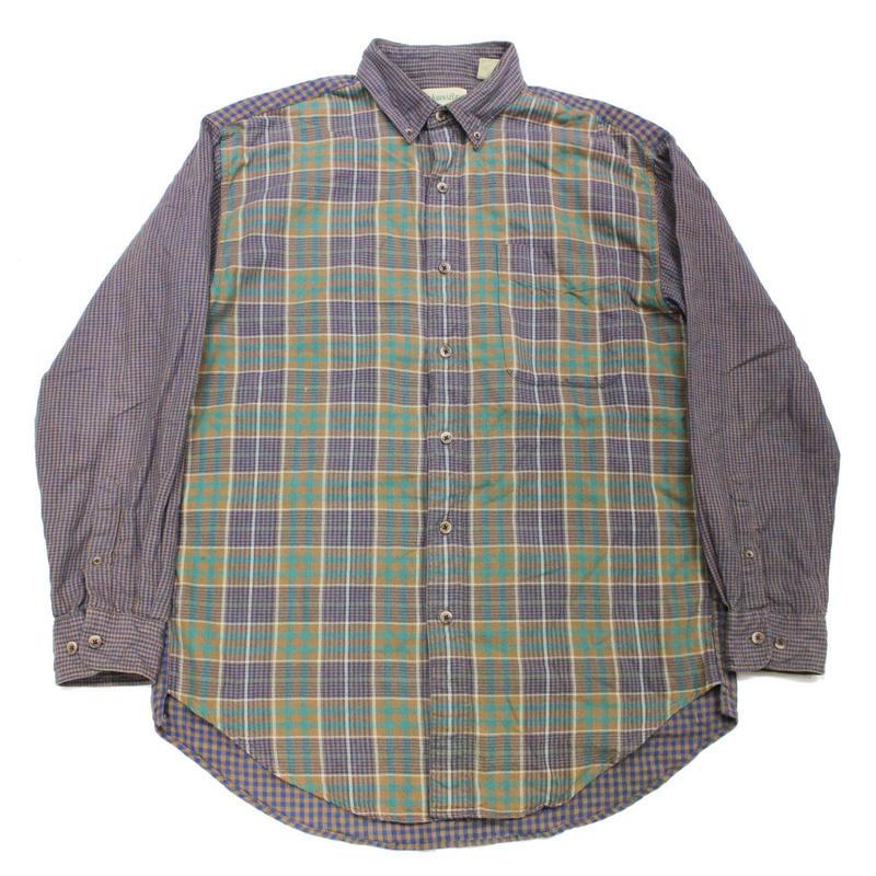 90's ST.JOHN'S BAY MULTI COLOR PLAID COTTON FLANNEL SHIRT (L) クレイジーパターン フランネルシャツ マルチカラー
