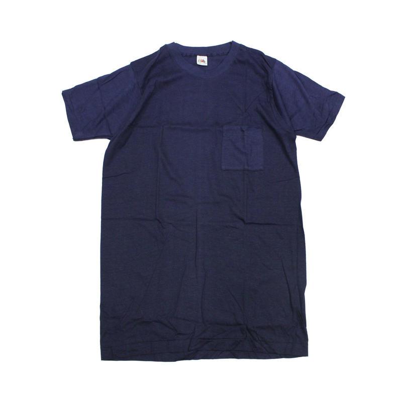 NOS 70's〜 FRUIT OF THE ROOM COTTON T-Shirts with Pocket NAVY(L) デッドストック フルーツ オブ ザ ルーム ポケットTシャツ ポケT 紺
