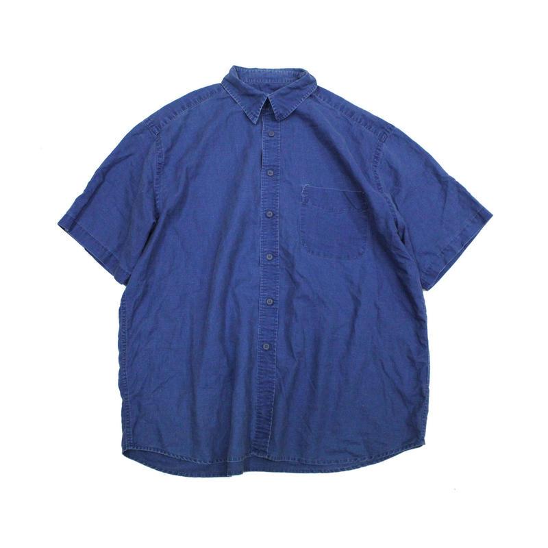 90's〜 Eddie Bauer Indigo dyed Linen Cotton S/S Shirts (XL) エディーバウアー  インディゴ染め コットン リネン ショートスリーブシャツ