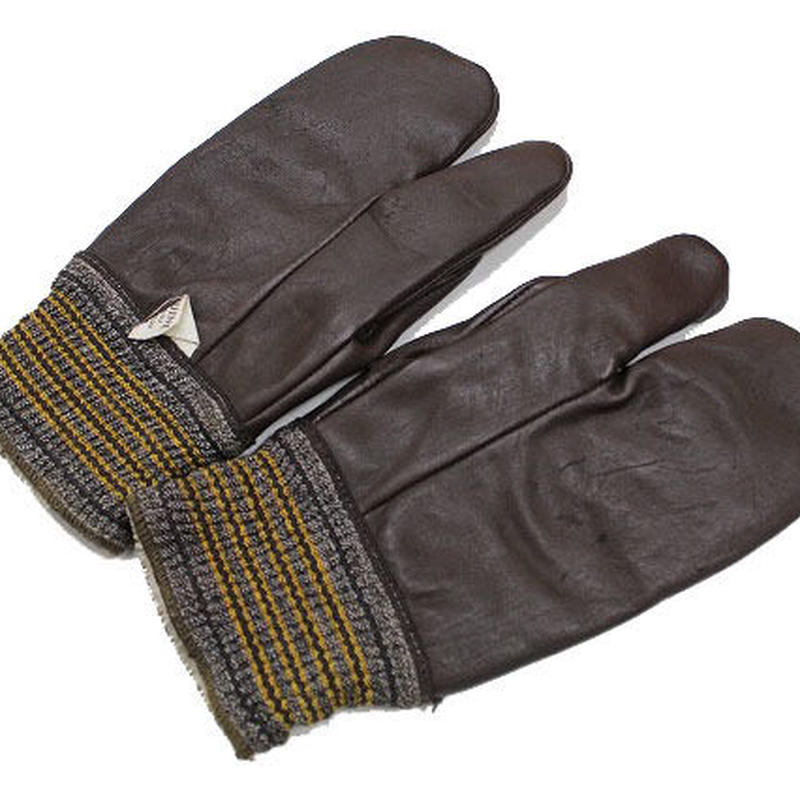 NOS 30's Unknown Horsehide 3 Finger Gloves デッドストック ホースハイド 3フィンガー レザーグローブ ミトン ゴムリブ