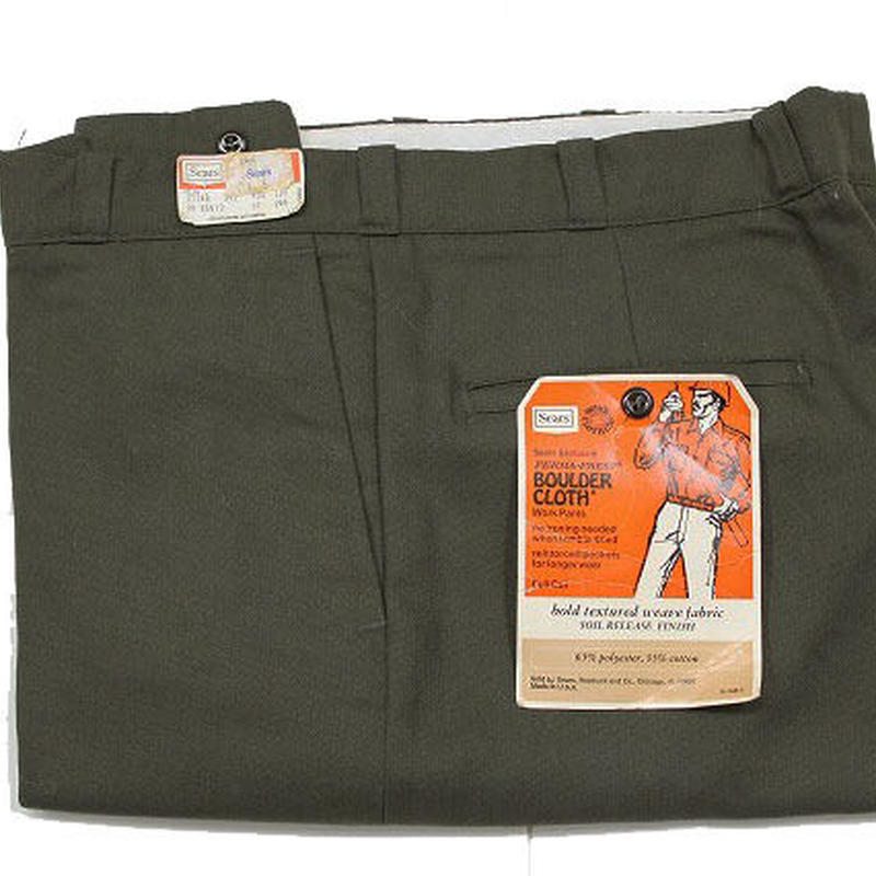 NOS 〜70's Sears Poly×Cotton Tapered Work Pants Green(w34 L29) デッドストック シアーズ テーパード ワーク パンツ オリーブグリーン
