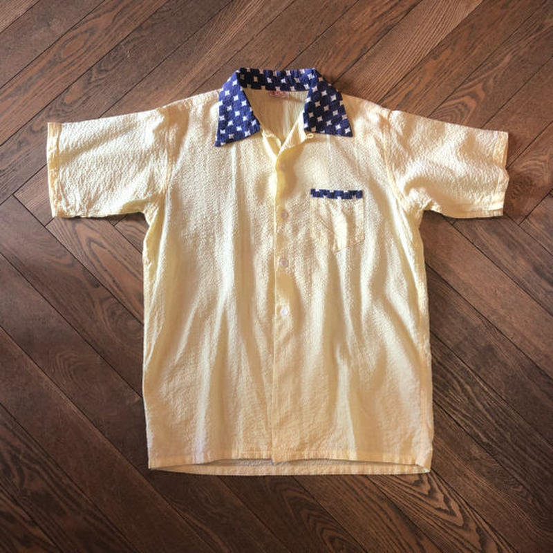 "~50's ""E&W Junior sports wear"" seersucker open collarShirt"