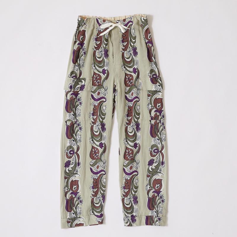 FLORAL STRIPE CARGO PANTS 【MENS】