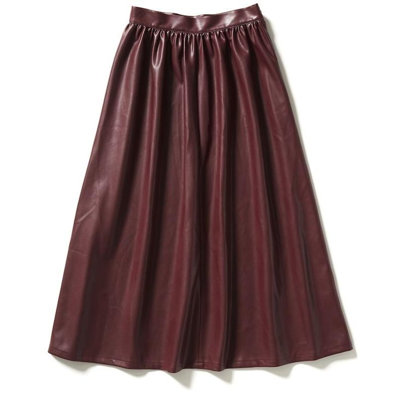 SYNTHETIC LEATHER GATHERED SKIRT 【WOMENS】