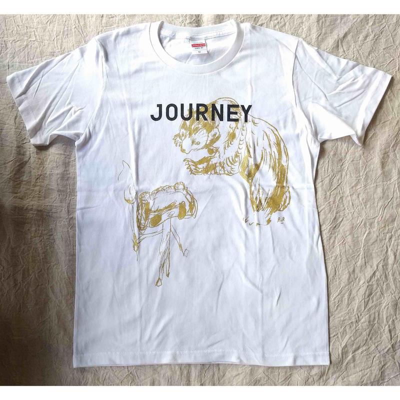 JOURNEY Tシャツ 白x金(荒井良二)