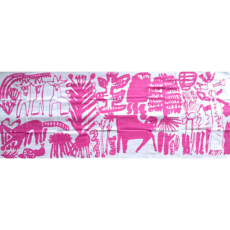 ミロコマチコ手拭い:「のわきとみろこ」ピンク