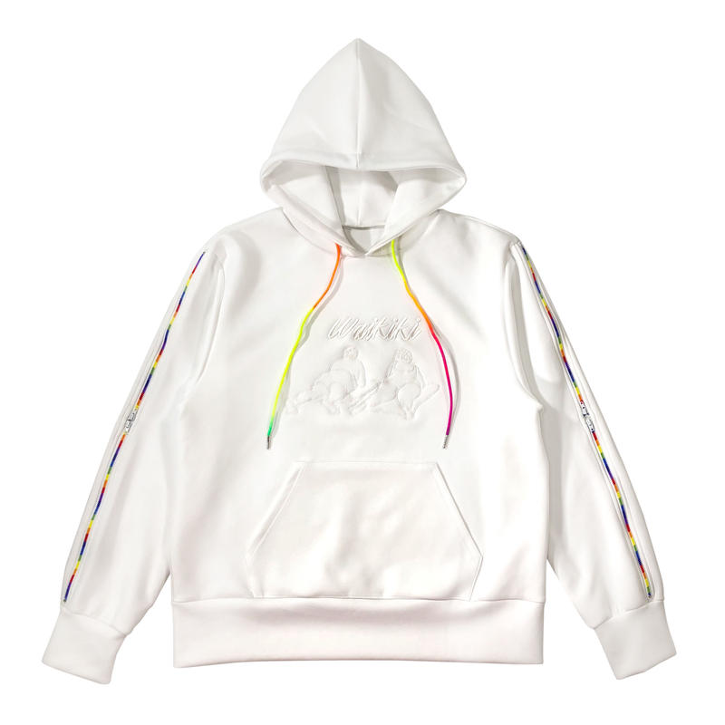 Waikiki Embroidered Hoodie with Rainbow Side Zipper Sleeves