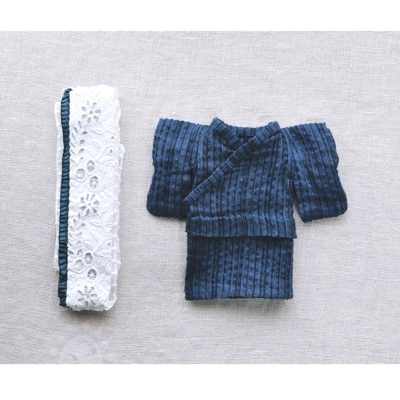【for Doll】浴衣キット 〜しじら織り・アンティーク帯〜
