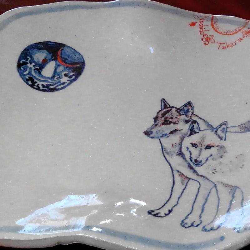 絵皿『狼と月』