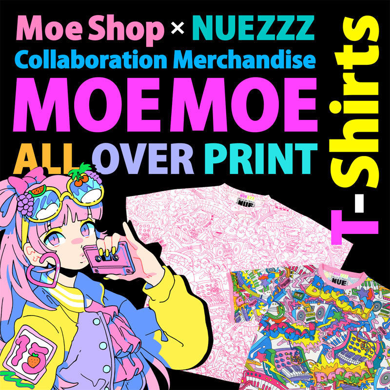 MOE MOE ALL OVER PRINT T-Shirt〈NZ027〉