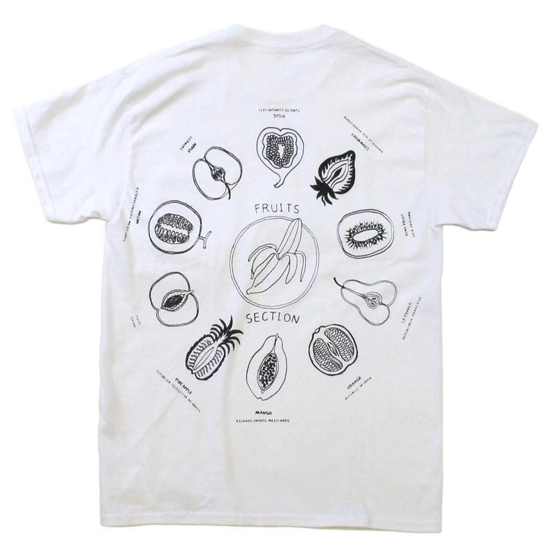 """Fruits"" front pocket T-shirts  #white - by SHUNTAROU TAKEUCHI × RYUHEI KOBOSHI"