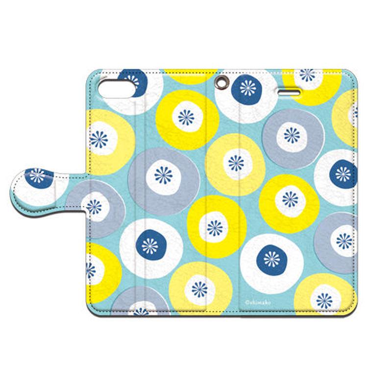 Shimako(しまこ) modern flower(水色) 手帳型スマホケース 対応機種(iPhone/アンドロイド機種)