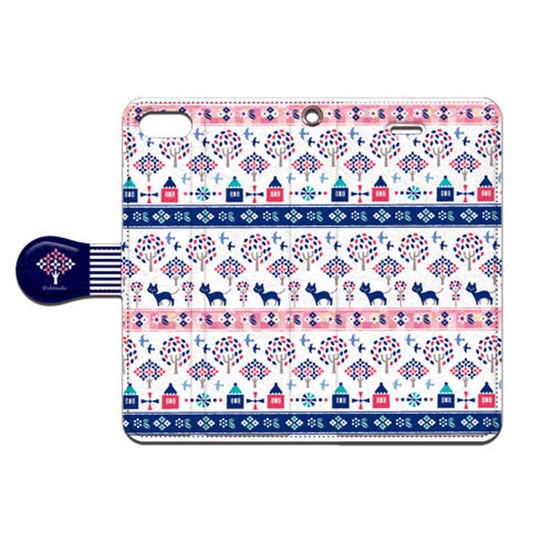 Shimako(しまこ) Forest House(ピンク) 手帳型スマホケース 対応4機種(iPhone/アンドロイド機種)