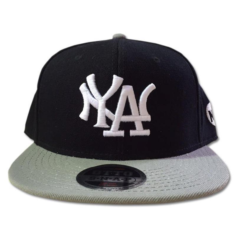 NY.LAスナップバックキャップN.Y.ATTITUDE MLBサンプリングキャップGREYグレー 90sHIPHOP/スケートボード