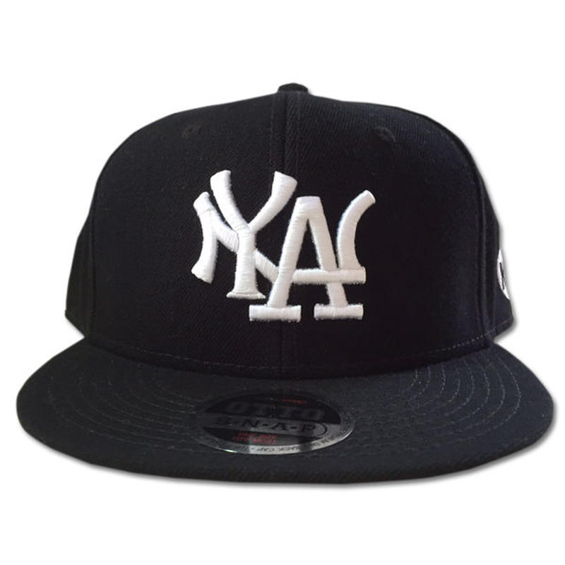 NY.LAスナップバックキャップN.Y.ATTITUDE MLBサンプリングキャップBLACK 90sHIPHOP/スケートボード