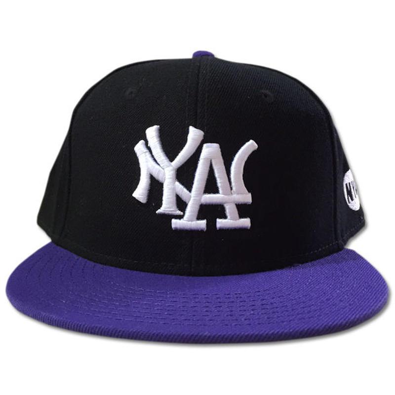 NY.LAスナップバックキャップN.Y.ATTITUDE MLBサンプリングキャップPURPLE紫 90sHIPHOP/スケートボード