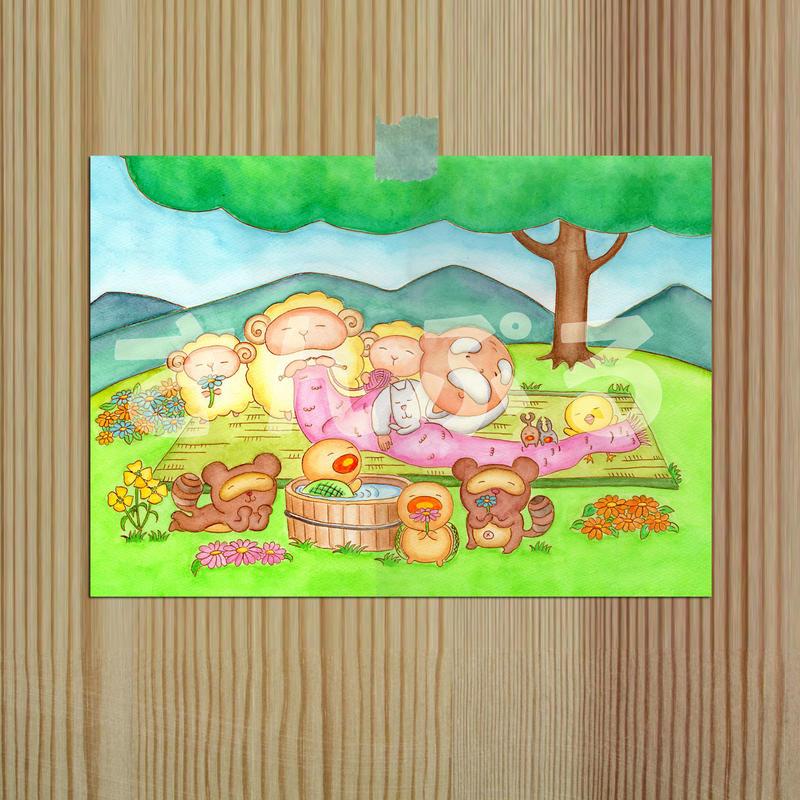 ポストカード じーさんシリーズ 「ピクニック」