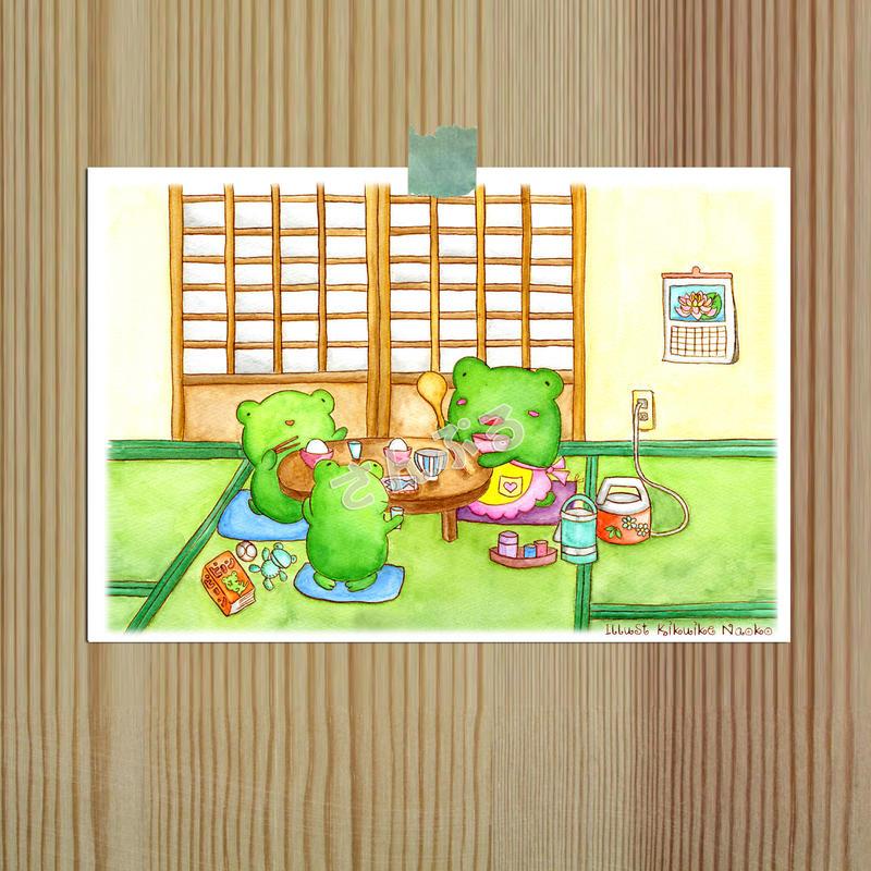 ポストカード かえるの親子シリーズ 「夕飯」