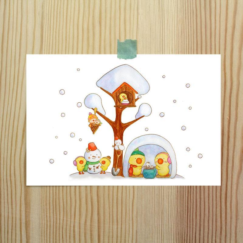 ポストカード ひよこシリーズ 「雪」