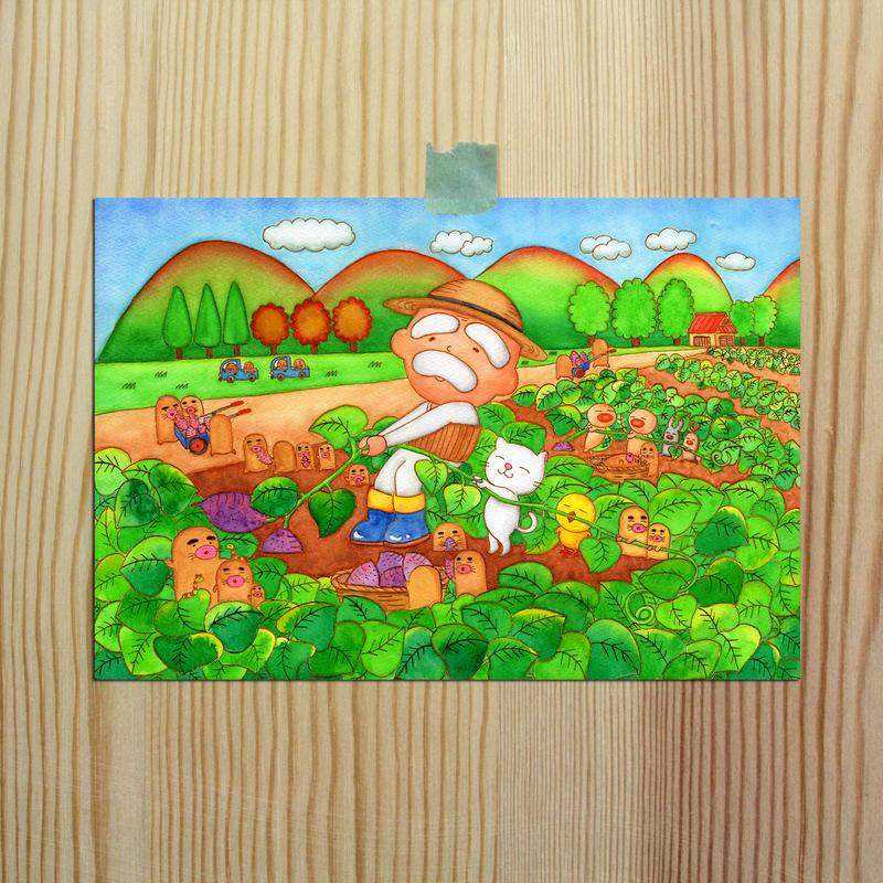 ポストカード じーさんシリーズ 「芋ほりじーさん」