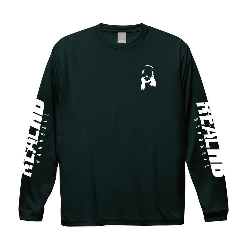 シンプルロゴ フェイスドライロング Tシャツ  ブラック