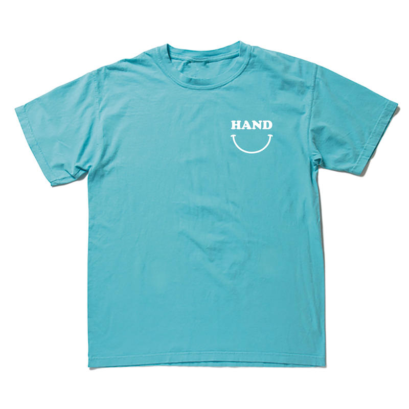 HANDスマイル ピグメントTシャツ  ターコイズ