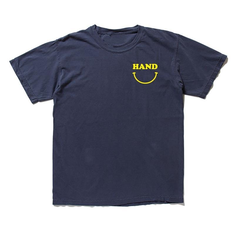 HANDスマイル ピグメントTシャツ  ネイビー