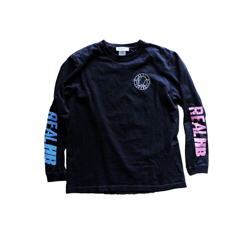 スリーブプリント ロングTシャツ  ブラック