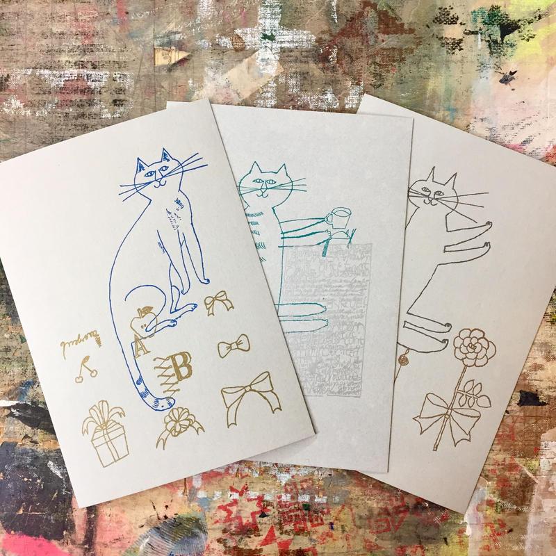 トラネコボンボン 活版カード3枚set