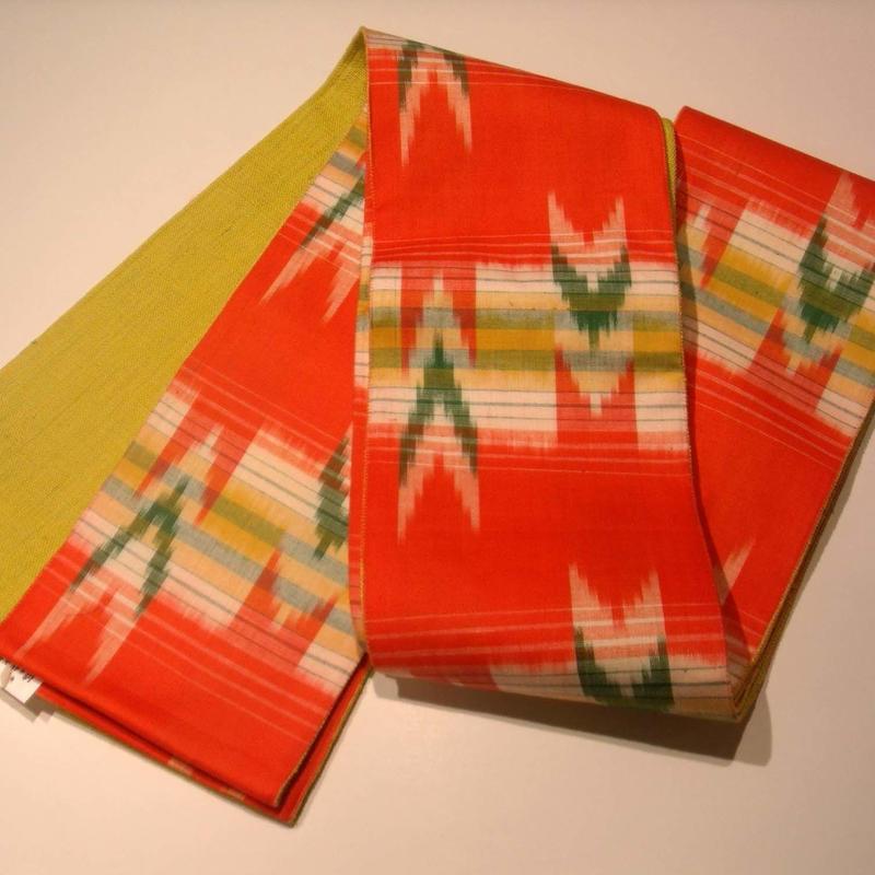 【京・木棉 乙】オリジナルリバーシブル半幅帯 赤矢絣  かがり帯 木綿 古布