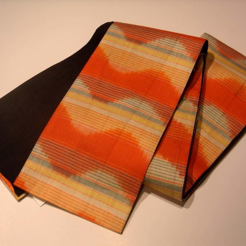 【京・木棉 乙】オリジナルリバーシブル半幅帯 オレンジ 波模様 木綿 古布