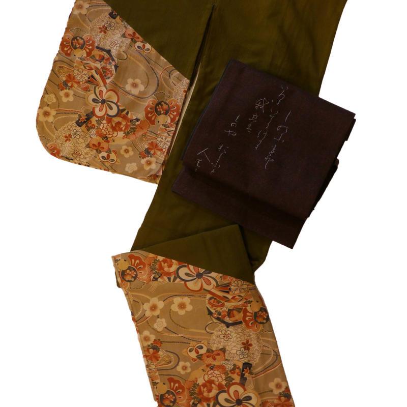 【京・木棉 乙】付下げ 木綿縮緬 渋緑色